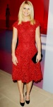 Claire Danes in a red lace Valentino cocktail dress