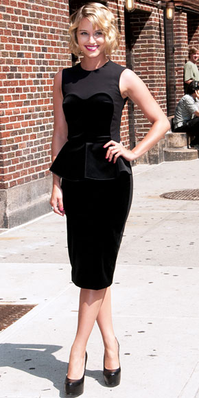 Dianna Agron in a black velvet Stella McCartney peplum dress with YSL heels