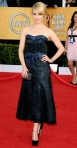 Dianna Agron in a navy & black tea-length Chanel gown with Fred Leighton jewelry