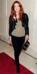 Drew Barrymore in  a shredded Catherine Malandrino jacket with J Brand leggings & feather earrings
