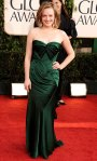 Elisabeth Moss in a green strapless Donna Karan dress with Jimmy Choo heels & Lorraine Schwartz earrings