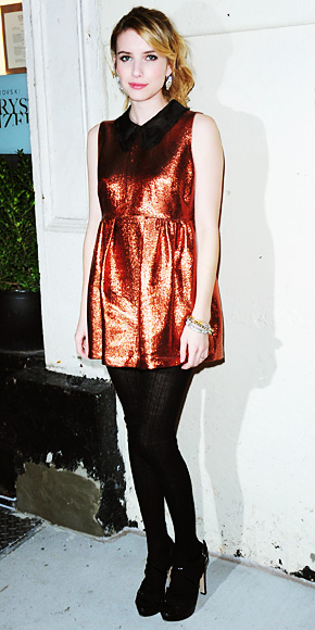 Emma Roberts in a bronze Miu Miu mini dress with black tights
