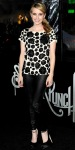 Emma Roberts in a Razan Alazzouni beaded top with leather Kova&T leggings & satin Brian Atwood pumps