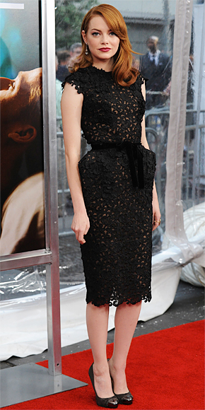 Emma Stone In A Black Lace Sheath Dress By Tom Ford With Fred