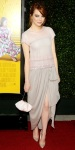 Emma Stone in a pastel Chanel dress with Brian Atwood pumps