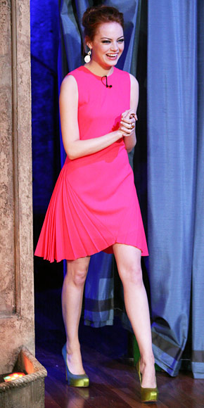 emma-stone-in-a-pink-christopher-kane-shift-dress-with-neon-green-satin-shoes.jpg