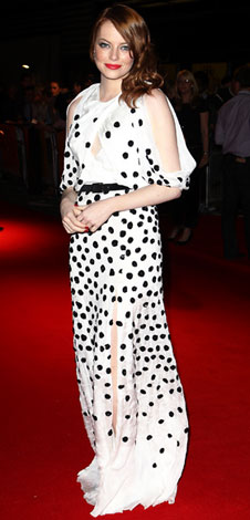 Emma Stone in a polka dotted gown by Luca Luca with House of Lavande drop earrings