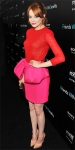 Emma Stone in a red & pink Giambattista Valli dress with jewelry by Jack Vartanian & Louboutins