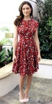 Emmy Rossum in a butterfly dress by Lyn Devon with woven Dolce & Gabbana shoes