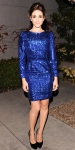 Emmy Rossum in a cobalt sequin Naven dress with leather pumps