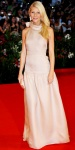 Gwyneth Paltrow in a blush drop-waist Prada gown with Bulgari diamond earrings