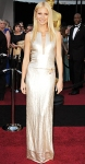 Gwyneth Paltrow in a platinm plunging Calvin Klein Collection gown