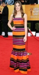 Hailee Steinfeld in a striped Prada gown