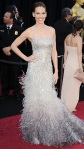 Hilary Swank in a Gucci premiere crystal & feather gown