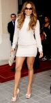 Jennifer Lopez in a pearl-studded Brose dress with a Kotur clutch