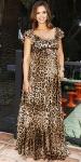 Jessica Alba in a leopard print Dolce & Gabbana maxi dress