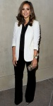 Jessica Alba in J. Brand corduroys with a white blazer & gold accessories