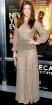 Jessica Biel in a gold drop waiste Valentino gown