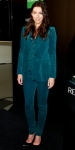 Jessica Biel in a teal Gucci suit with satin Louboutins