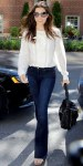 Jessica Biel in a white blouse with Paige Denim flared jeans & tortoise shell sandals