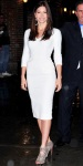 Jessica Biel in a white Victoria Beckham dress with Blonde Ambition booties