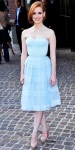 Jessica Chastain in a blue Christian Dior dress with Harry Winston diamonds & leather Louboutins
