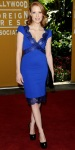 Jessica Chastain in a cobalt lace Emilio Pucci dress with satin pumps