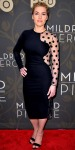 Kate Winslet in a polka doot peek-a-boo Stella McCartney dress with ankle strap sandals