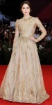 Keira Knightley in a long-sleeved Valentino gown