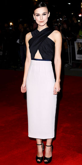 Keira Knightley in a Roksanda Ilincic halter dress with black sandals