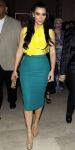 Kim Kardashian in ywllow & teal L'Wren Scott separates with nude Christian Louboutins