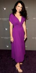 Kristin Davis in a violet Prada dress with nude platforms