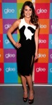 Lea Michele in a black & white one-shoulder Versace dress with laser-cut Louboutins