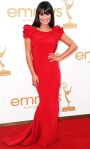 Lea Michele in a red Marchesa draped back gown
