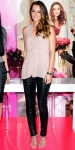 Leighton Meester in a sheer blush blouse with leather leggings, Brian Atwood sandals, & a Dannijo clutch