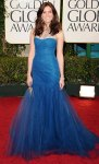Mandy Moore in a Grecian blue Monique Lhuillier gown with Chopard jewelry
