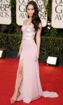 Megan Fox in a pink Giorgio Armani Prive gown with Brian Atwood shoes & a Roger Vivier clutch