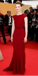 Mia Wasikowska in a red Roland Mouret gown