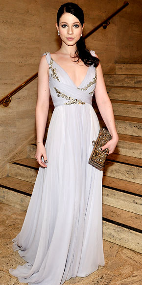 730e836d Michelle Trachtenberg in an ambroidered Marchesa Grecian-inspired gown with  David Yurman earrings