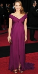Natalie Portman in a plum off-the-shoulder Rodarte gown & Jimmy Choo heels