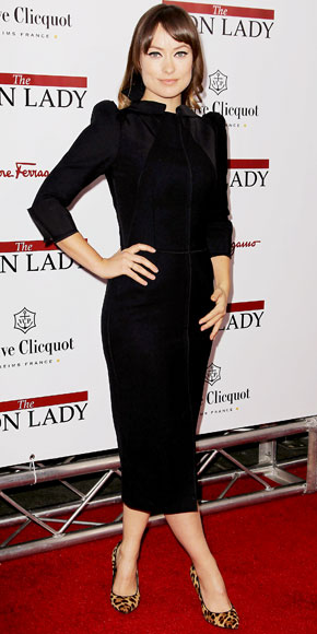 Olivia Wilde In A Black Puff Sleeve Dolce Gabbana Dress With