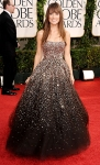 Olivia Wilde in a chocolate ombre sequin Marchesa gown with Tiffany & Co. jewelry