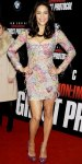 Paula Patton in a beaded & feathered minidress by Emilio Pucci with violet Louboutins