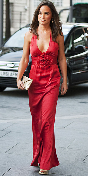 Pippa Middleton in a red plunging Temperley London colum gown with ...