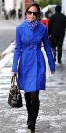 Pippa Middleton in a royal bluse double-breasted coat with a Beulah London scarf, knee-high Russell & Bromley boots & a black Modalu tote