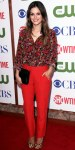 Rachel Bilson in an Erdem top with red slacks & leopard Christian Louboutin heels