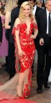 Rachel McAdams in a silk organza Marchesa dress with gold Casadei pumps & Bulgari diamonds