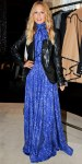 Rachel Zoe in her own blue maxi dress with a leather blazer