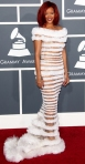 Rihanna in an illusion gown by Jean Paul Gaultier