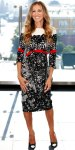Sarah Jessica Parker in a whool black, red, & white Prabal Gurung dress